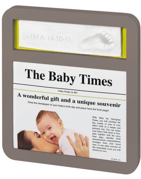 News Print Frame Taupe & Lime 34120088