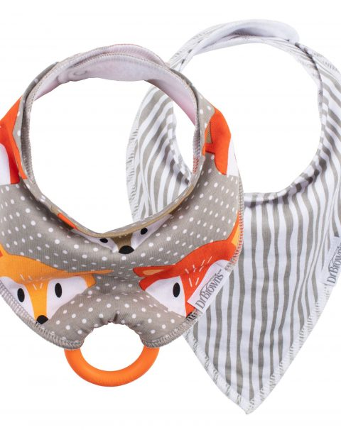 AC152_Bandana_Bib_with_Teether_2-Pack_Fox_Stripes_Orange_Teether